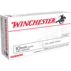 Winchester USA 10mm Auto Ammunition 50 Rounds 180 Grain Full Metal Jacket Flat Nose 1080fps