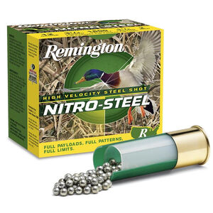 "Remington Nitro Steel HV 12 Gauge Ammunition 25 Rounds 2-3/4"" Length 1-1/8 Ounce #4 Steel Shot 1390fps"