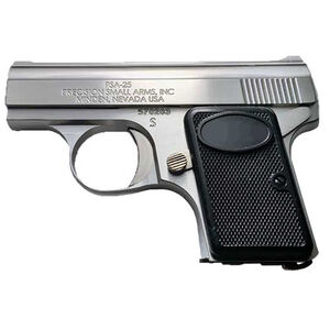 """Precision Small Arms PSA-25 .25 ACP Semi Auto Pistol 2.13"""" Barrel 6 Rounds Stainless Steel Traditional Satin Finish"""