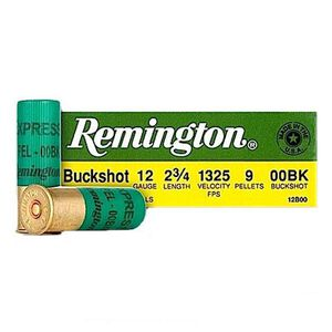 "Remington Buckshot 12 Ga 2.75"" 00 Buck 9 Pellets 25 rds"