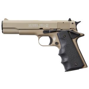 "Chiappa 1911-22 Semi Auto Pistol 22 LR 5"" Barrel 10 Rounds Alloy Frame Rubber Grips Tan"