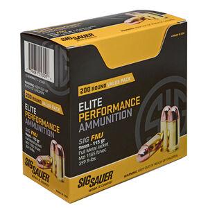 SIG Sauer Elite Performance 9mm Luger Ammunition 200 Rounds 115 Grain Full Metal Jacket 1185fps