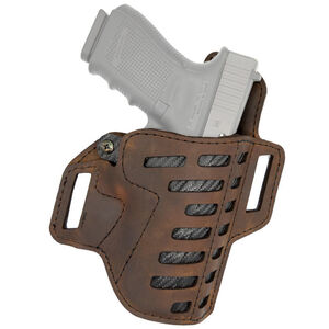 "Versacarry Compound Series Holster OWB Size 1 Most Double Stacked Sub Compacts with 3.5"" Barrel Right Hand Leather Distressed Brown"