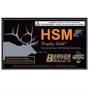 HSM Trophy Gold .260 Rem Ammunition 20 Rounds 130 Grain Berger Match Hunting VDL BTHP 2784 fps