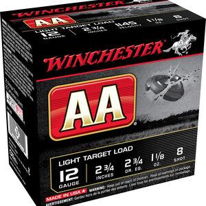 "Winchester AA Light Target 12 Gauge Ammunition 250 Rounds 2.75"" #8 Lead 1.125 Ounce AA128"