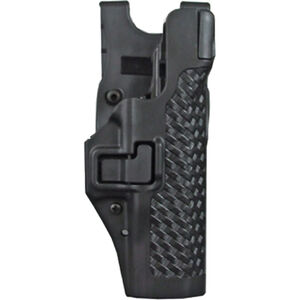 BLACKHAWK! SERPA Level 3 Duty Belt Holster Fits GLOCK 17/19 Right Hand Polymer Basketweave Black