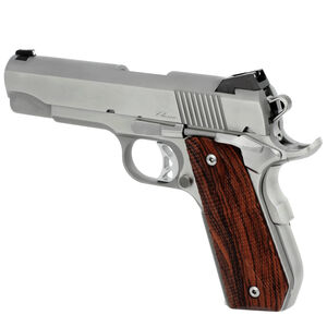 "CZ USA Dan Wesson 1911 Commander Classic Bobtail Semi Auto Pistol .45 ACP 4.25"" Barrel 8 Rounds Fixed Night Sights Wood Grips Stainless Steel Brushed Finish"