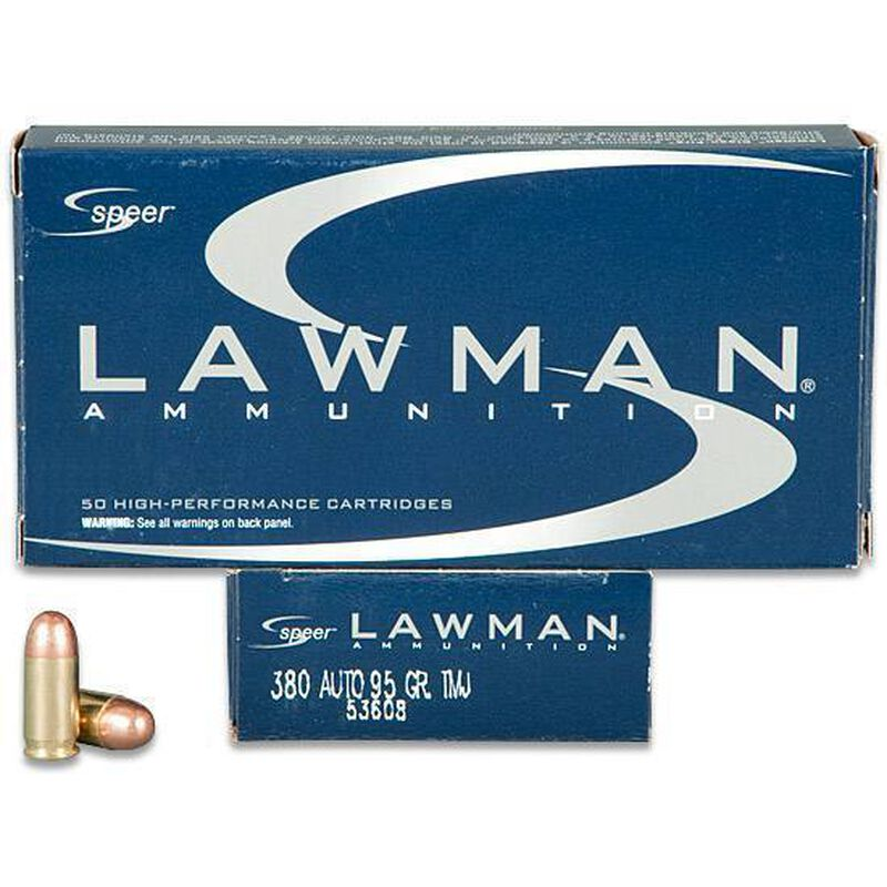 Speer Lawman .380 ACP Ammunition 95 Grain FMJ 950 fps