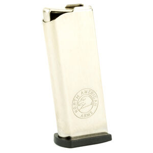 North American Arms Guardian 25/32 6 Round Magazine .25 ACP/.32 ACP Polymer Flat Base Plate Stainless Steel Natural Finish