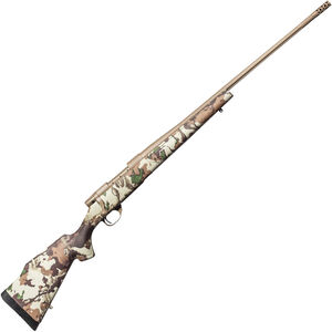 """Weatherby Vanguard First Lite .25-06 Rem Bolt Action Rifle 26"""" Barrel 5 Rounds with Accubrake First Lite Fusion Camo Synthetic Stock FDE Cerakote Finish"""