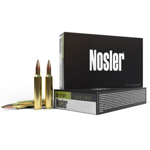 Nosler E-Tip .308 Winchester Ammunition 20 Rounds 150 Grain E-Tip Lead Free Green Polymer Tip Projectile 2750fps