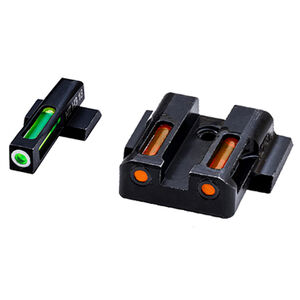 HiViz Litewave H3 Tritium/Litepipe fits S&W M&P Models Green Front Sight with White Front Ring/Orange Rear Sight Steel Housing Matte Black