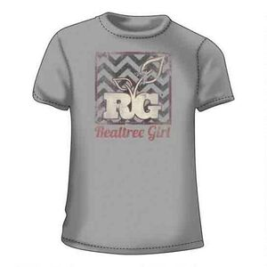 Realtree Women's Short Sleeve T Shirt Chevron Background with Logo Med Cotton Silver