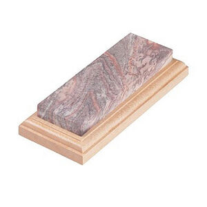 "Lansky Soft Arkansas Bench Sharpening Stone 6""x2"" Wood Base LBS6S"