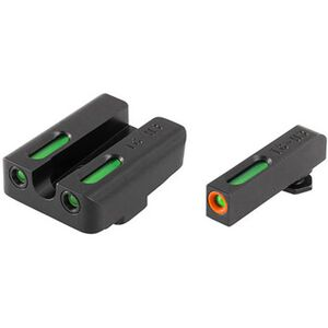 TRUGLO TFX Pro High Set GLOCK 20/21/29/30/31/32/37/40/41 Front and Rear Set Green TFO Night Sights Orange Ring Steel Black TG13GL2PC
