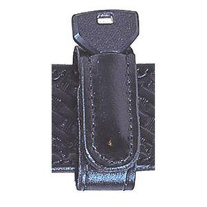 "Stallion Leather 1""  Belt Keeper w/ Spare Key Slot Basketweave Finish Black"