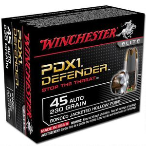 Winchester PDX1 Defender .45 ACP Ammunition 230 Grain Bonded JHP 920 fps