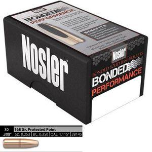 """Nosler Bonded Performance .30 Caliber .308"""" Diameter 168 Grain BSB Bonded Solid Base Bullets 100 Count 38145"""