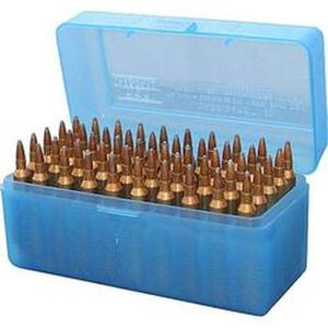 MTM Case-Gard R-50 Series 50 Rounds Large Diameter Large Rifle Ammunition Box Polypropylene Clear Blue RLLD-50-24
