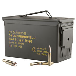 Prvi Partizan .30-06 Springfield Ammunition 500 Rounds FMJ 150 Grains With Metal Ammo Can PP3006GMC