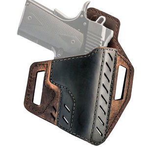 """VersaCarry Decree Belt Slide Holster Size 1 Full Size with a 3.5"""" Barrel Right Hand Leather Brown and Black 82121-1"""