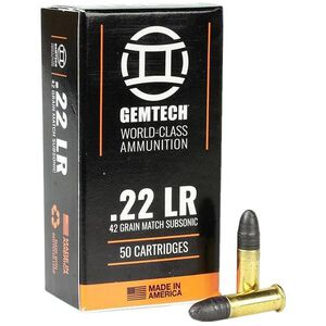 Gemtech Subsonic .22 LR Ammunition 50 Rounds 42 Grain Lead Round Nose 1020fps