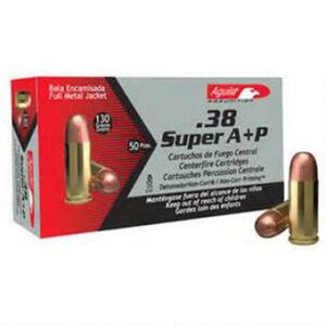 Aguila .38 Super Auto +P Ammunition 50 Rounds FMJ 130 Grain