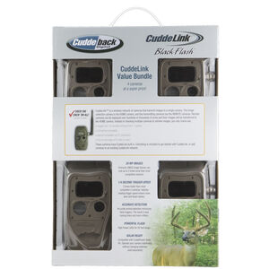 CuddeLink Black Flash Trail Cameras IR LEDs 5MP or 20 MP Images 12 AA Batteries ID Bar Day and Night Mode Brown Finish 4 Pack