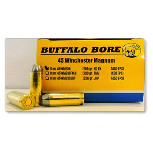 Buffalo Bore Outdoorsman .45 Winchester Magnum Ammunition 20 Rounds Hard Cast FN 255 Grain 45WM255/20