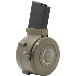 Iver Johnson AR-15 Drum Magazine .223 Remington 50 Rounds Carry Case Polymer Black and Green