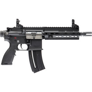 "HK USA HK416 .22 LR Semi Auto Pistol 8.5"" Barrel 20 Rounds Aluminum M-LOK Rail Polymer Flip Up Sights Matte Black Finish"