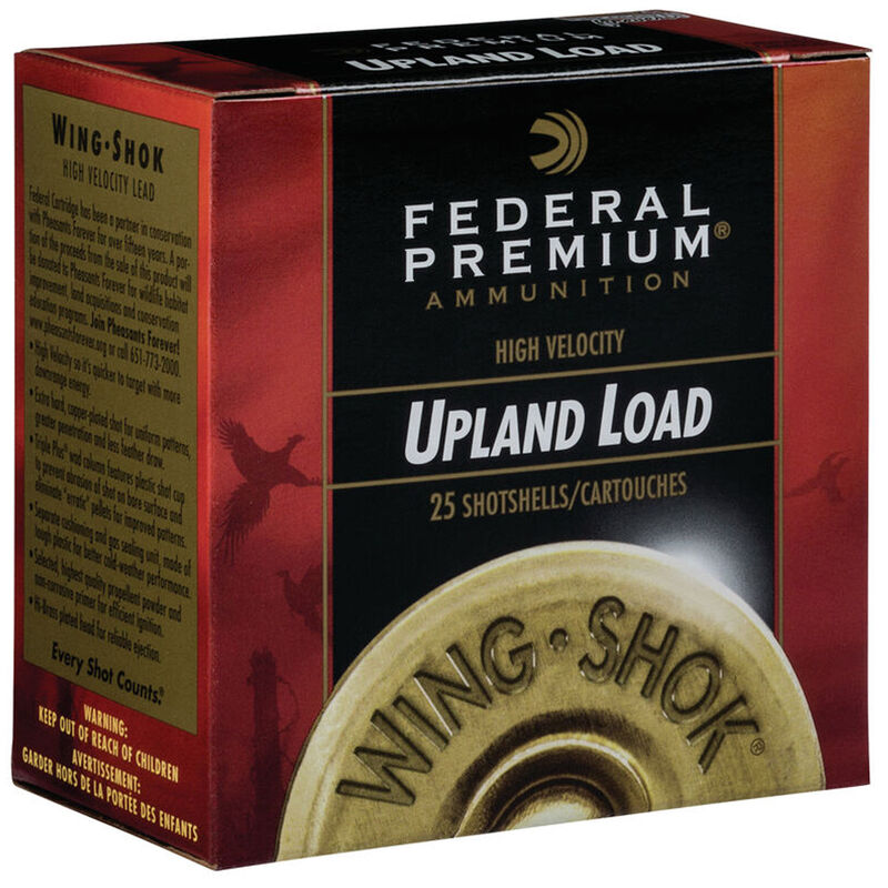 """Ammo 12 Gauge Federal Wing-Shok Pheasants Forever High Velocity 2-3/4"""" #7.5 Lead 1-1/4 Ounce 1500 fps 25 Rounds PF15475"""