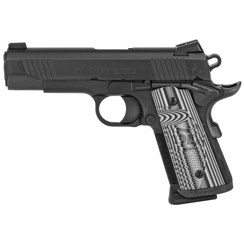 "Colt Combat Unit CCO 1911 Officer's Model .45 ACP Semi Auto Pistol 4.25"" Barrel 7 Round Novak Sights G10 Gray Scallop Grips PVD Black Finish"