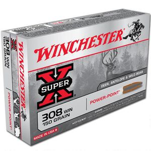 Winchester Super-X .308 Winchester Ammunition 150 Grain Power Point JSP 2820 fps 20 Rounds per Box