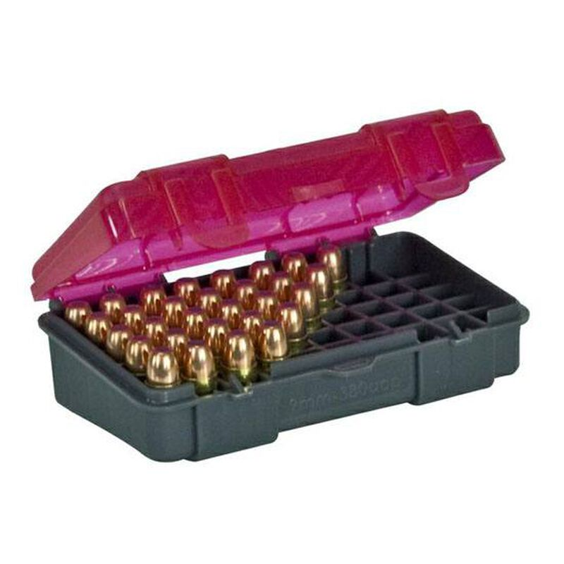 Plano Ammunition Field Box .380 Auto/9mm Holds 50 Rounds 6-Pack Charcoal/Rose 1224-50