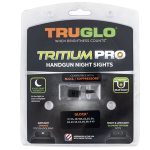 TRUGLO Tritium Pro Night Sights fits GLOCK MOS 17,19,34,35,45 Orange Focus Ring  3 Dot Night Sight