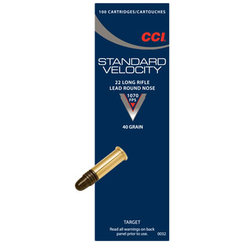 CCI Standard Velocity .22 Long Rifle Ammunition 40 Grain Lead Round Nose 1070fps