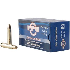 Prvi Partizan PPU Standard .30 Carbine Ammunition 50 Rounds 110 Grain FMJ RN 1990fps