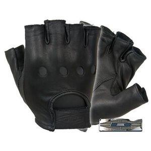 Damascus Gear Premium Leather Half Finger Driving Gloves Medium Black
