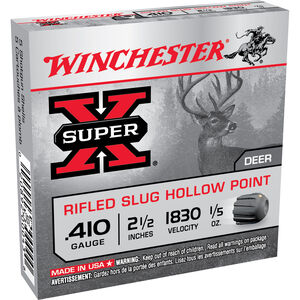 "Winchester SuperX .410 2-1/2"" Rifled Slug, 15 Rounds, 1/5 oz"