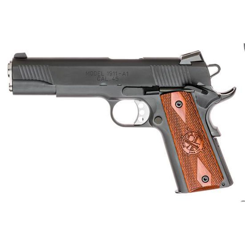 "Springfield 1911 Loaded Semi Auto Pistol 45 ACP 5"" Barrel 7 Rounds Wood Grips Parkerized"