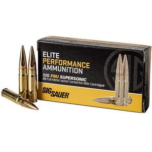 SIG Sauer Elite Ball .300 AAC Blackout Ammunition 20 Rounds 125 Grain FMJ Sierra Match King Projectile 2145fps