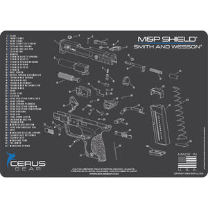"Cerus Gear M&P Shield Schematic ProMat Handgun Size 12""x17"" Synthetic Grey/Blue"