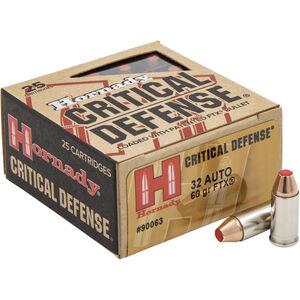 Hornady Critical Defense .32 Auto Ammunition 25 Rounds 60 Grains FTX 1000 fps