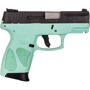 "Taurus PT111 G2C 9mm Luger Semi Auto Pistol 3.2"" Barrel 12 Rounds 3 Dot Sights Cyan Polymer Frame Black Finish"