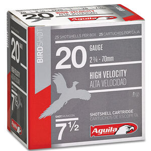 "Aguila High Velocity Field 20 Gauge Ammunition 2-3/4"" Length #7.5 Lead Shot 1 Ounce 1220fps"