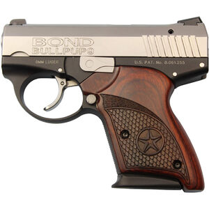 "Bond Arms BullPup9 9mm Luger DA Semi Auto Pistol 3.35"" Barrel 7 Rounds Rosewood Grip Two Tone Stainless/Black Finish"
