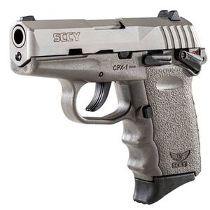 """SCCY CPX-1 9mm with Safety 3.10"""" Barre, 10 Rounds, Stainless Steel/Gray"""
