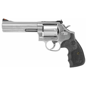 "S&W Model 686 Plus 3-5-7 Magnum Series .357 Magnum Revolver 5"" Barrel 7 Rounds Custom Black Wood Grips Satin Stainless Steel"