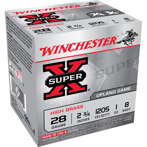"Winchester Super X Game Load 28 Gauge Ammunition 250 Rounds 2.75"" #8 Lead 1 Ounce X28H8"